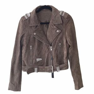 BLANK NYC 100% Suede Leather Moto Jacket Tan Taupe